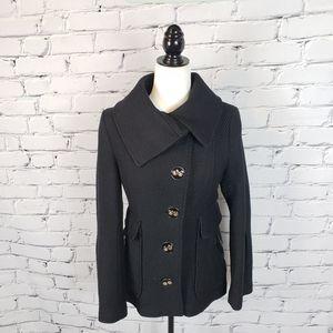 Mackage Black Wool-blend Coat with Leather Trim